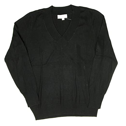 0c132d5eef Adrianne Vittadini Womens V-Neck Sweater Small Black at Amazon ...