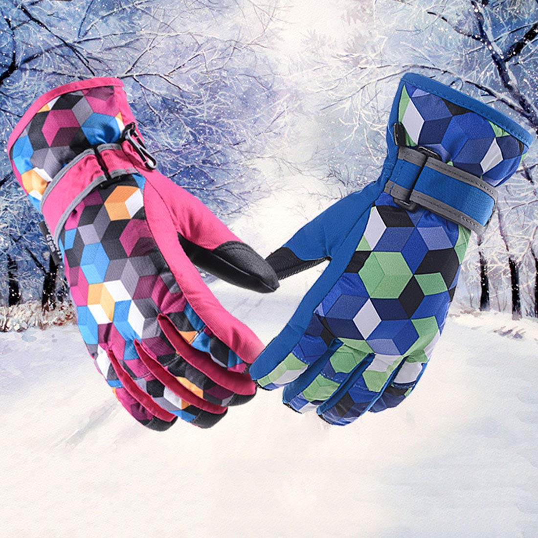 Xianheng Kids Ski Gloves Winter Warm Waterproof Windproof Thermal Children S, Red