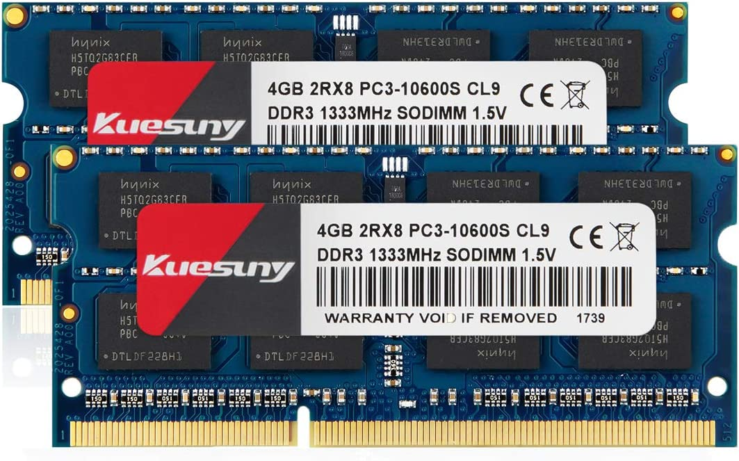 Kuesuny 8GB Kit (4GBX2) DDR3 1333 SODIMM RAM, PC3 10600 / PC3 10600S 204 Pin 1.5V CL9 Non-ECC Unbuffered 2RX8 Dual Rank for Laptop Notebook Computer