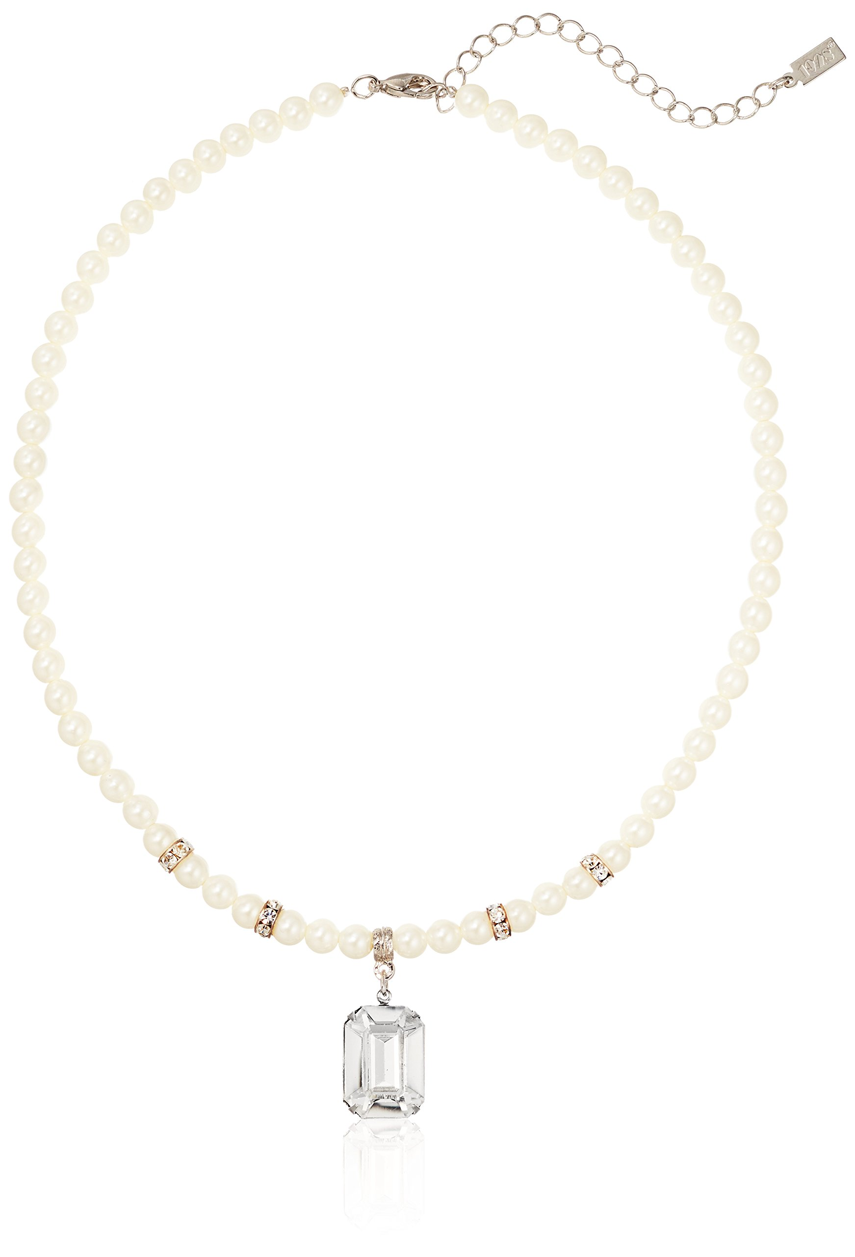 Necklace Silver-tone Simulated Pearl White Crystal w//3in ext