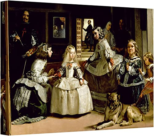 ArtWall Las Meninas, Detail of The Lower Half Depicting The Family of Philip IV of Spain Gallery-Wrapped Canvas Artwork by Diego Velazquez, 16 by 24-Inch