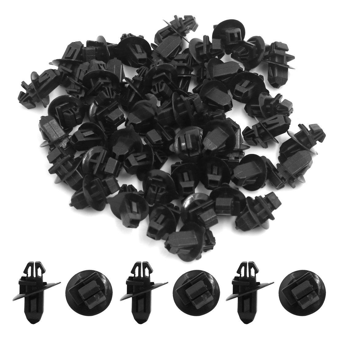 Amazon.com: eDealMax 50 PC Negro 11 mm Diámetro del orificio de plástico Protección Contra salpicaduras de moldeo pegatina Clips Para coches: Automotive