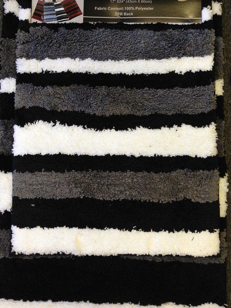 Amazon.com: 2 Piece Microfiber Bath Rug Set Modern Stripe Pattern ...