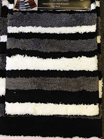 2 Piece Microfiber Bath Rug Set Modern Stripe Pattern Bathroom Rugs (Black)