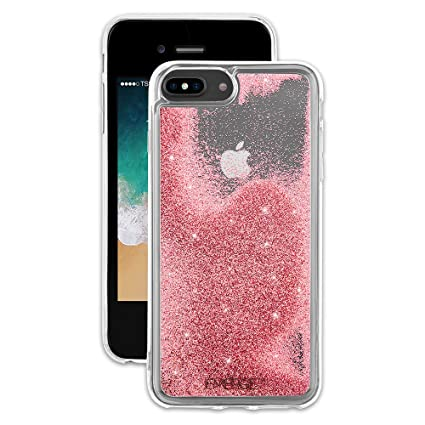 EMERGE SNOW GLOBE iPhone 8 Plus / iPhone 7 Plus Glitter Cell Phone Case - Flowing Liquid Glitter Pink