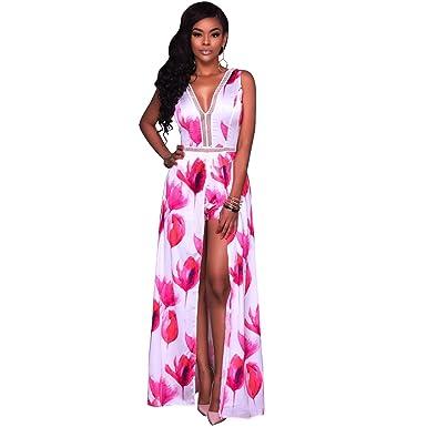e2ff6cb0e0b Image Unavailable. Image not available for. Color  Romper Split Maxi  Dresses Short jumpsuit Long dress White Red L