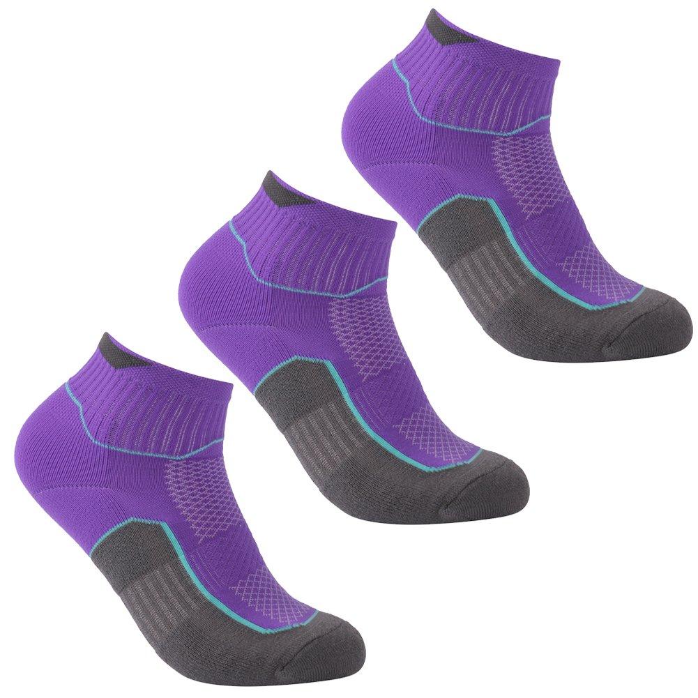Climbing Socks, Luccalily Unisex Soft Cushion Low Cut Athletic Socks Roll Top Coolmax Outdoor Sports Hiking Trekking Short Quarter Socks,3 Pairs Purple,Medium