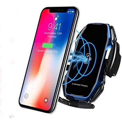 KMI CHOU A5 Phone Holder for Car,Automatic Clamping IR Intelligent Wireless Car Charger Mount - Car Charger Holder 10W Fast Charging for iPhone Xs Max/XR/X/8/8Plus Samsung S10/S9/S8/Note 8-Royal Blue
