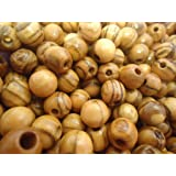 Holyland Natural Olivewood round beads 7mm ROSARY beads NAZARETH ( 60 Beads )