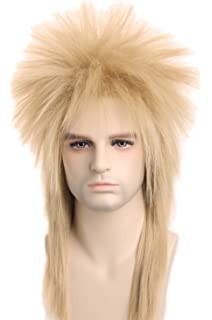Topcosplay 80S Rocking Dude Wig Fancy Dress Punk Rocker Mullet Style Wig Blonde