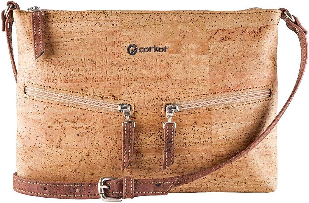 Corkor Cork Purse Crossbody Women Handbag from Portugal | Vegan Leather Natural Red Color