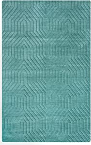 Rizzy Home Technique Collection Wool Area Rug, 3' x 5', Blue/Dark Teal Solid