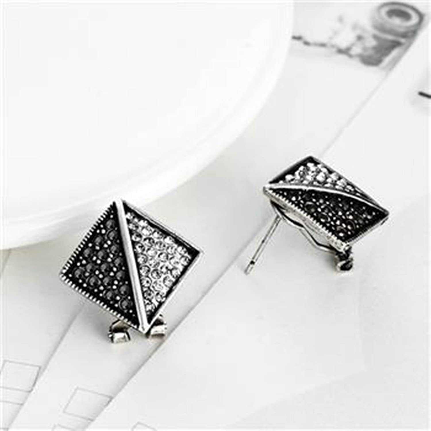 KnSam Geometric Shape Womens Stud Earrings CZ Round Cut Gold Plated Base Silver