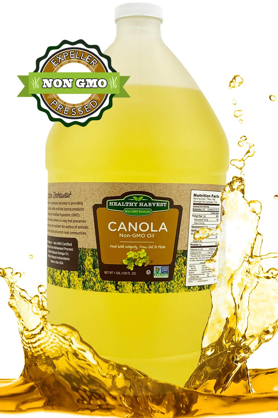 Healthy Harvest Canola Oil - Non-GMO Certified with Antioxidants and Omega-3s {One Gallon - 128 oz.} by Healthy Harvest Productions