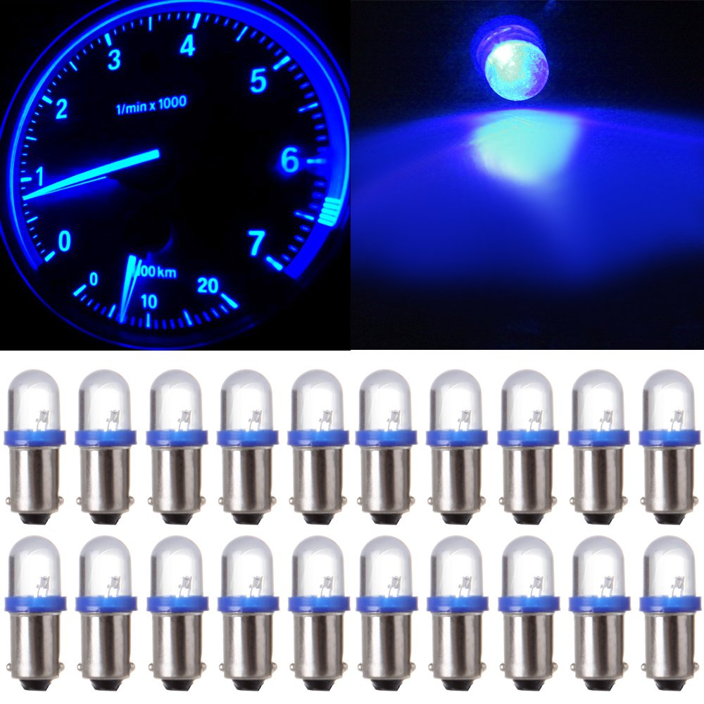 cciyu 20 Pack Blue BA9S 57 Bayonet LED Bulb Gauge Cluster Instrument Panel Light Lamp by cciyu