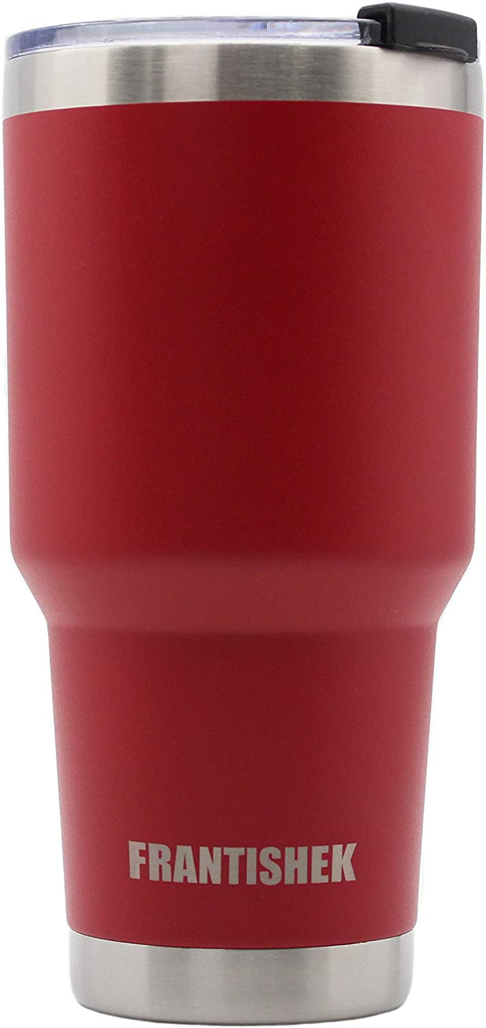 Frantishek 30 oz Stainless Steel Tumbler Vacuum Insulated Coffee Cup Double Wall Large Travel Mug with Splash Proof Lid for Hot & Cold Drinks (Red)