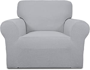 Easy-Going Stretch Sofa Slipcover 1-Piece Sofa Cover Furniture Protector Couch Soft with Elastic Bottom Kids,Polyester Spandex Jacquard Fabric Small Checks(ChairSilver Gray)