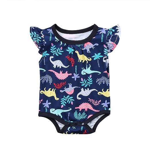 8c16c722a Amazon.com  Baby Boy Girl Bodysuit Animal Dinosaur Short Fly Sleeve ...