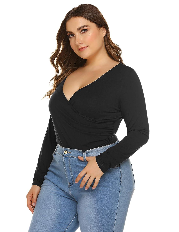 INVOLAND Women Plus Size Bodysuit Long Sleeve Leotard Top Basic Cross Front V Neck Bodycon T-Shirt Stretchy Jumpsuit