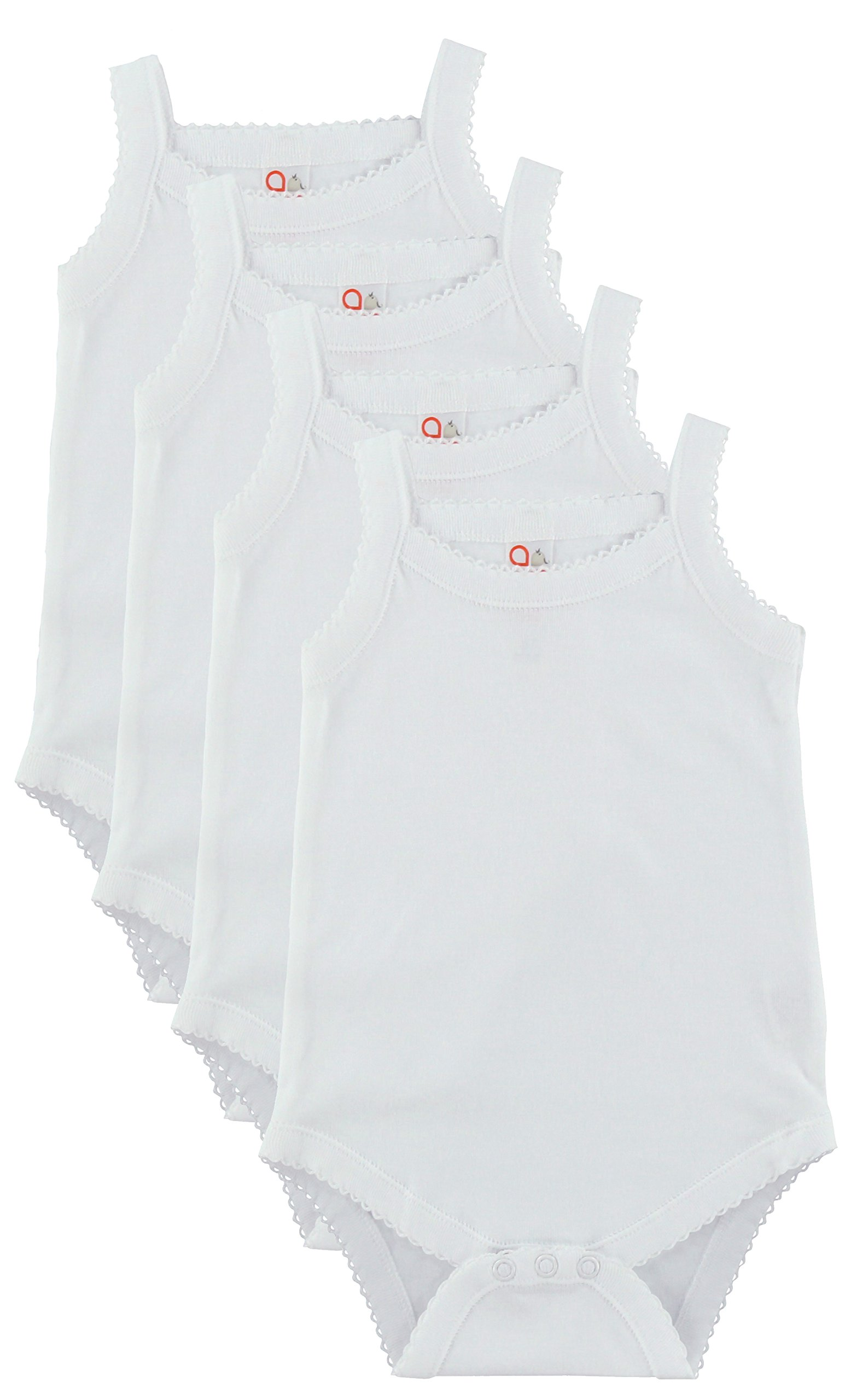 Baby and Toddler Girls White Camisole Onesie Bodysuit - W2GSNR - Size 18-24 - 4PK by Baby Jay