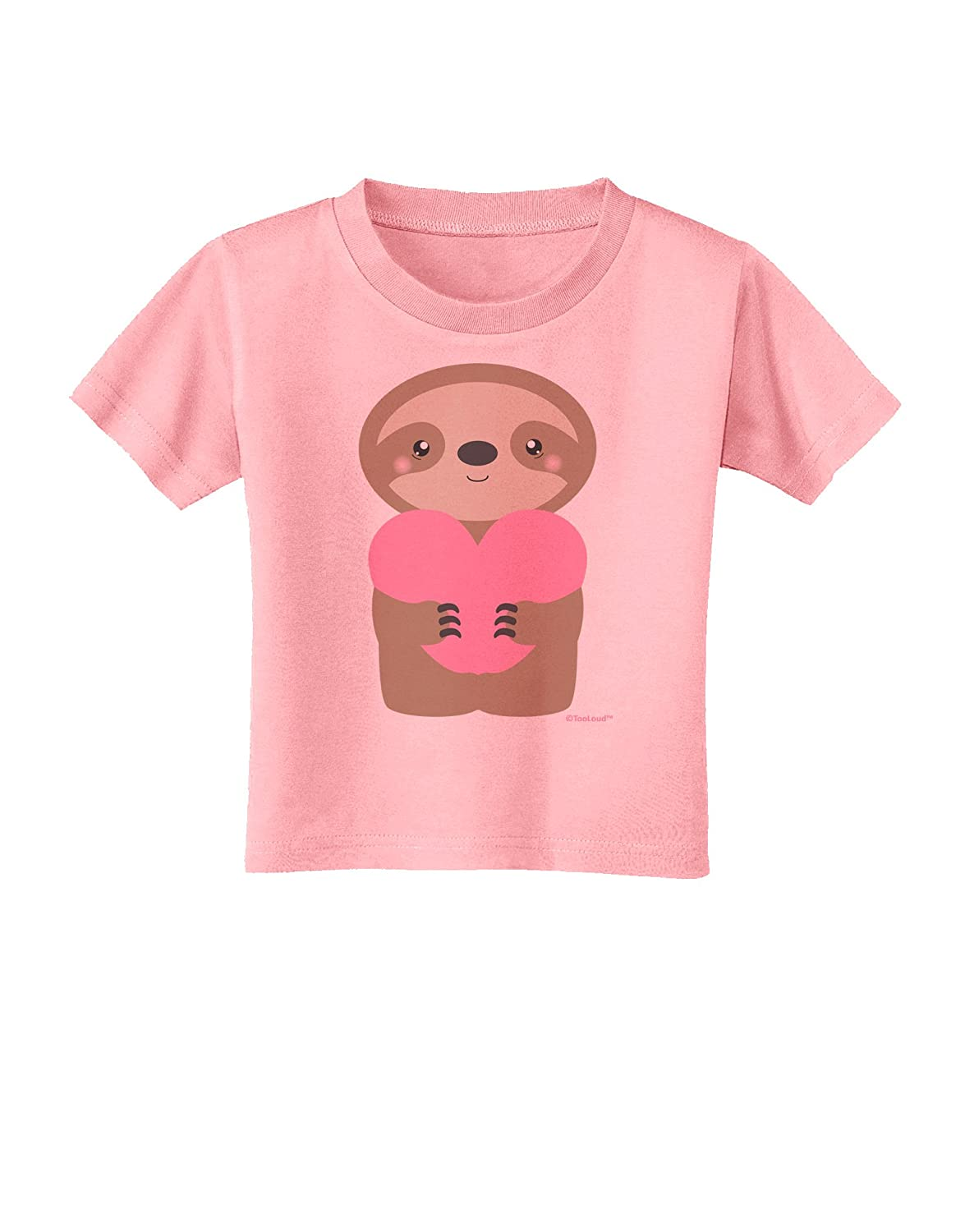 TooLoud Cute Valentine Sloth Holding Heart Toddler T-Shirt