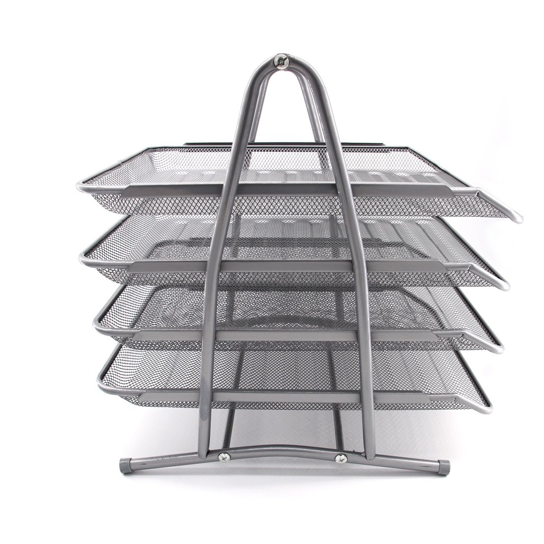 HAODE Fashion 4 Tiers Steel Mesh Document Tray, File Basket, Office Desk Organizer, Letter Tray Organizer, Desktop Document Paper File Organizer, Silver by HAODE Fashion (Image #7)