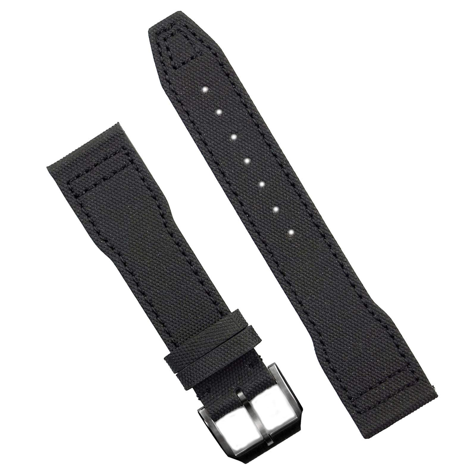 B & R Bands 21mm Black Tactical IWC Pilot Style Watch Band Strap