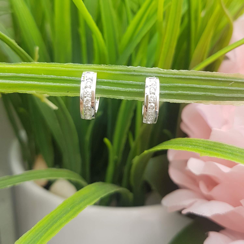 Dazzlingrock Collection 0.50 Carat (ctw) 10K Round Diamond Ladies Mens Unisex Huggie Hoop Earrings 1/2 CT, White Gold by Dazzlingrock Collection (Image #5)