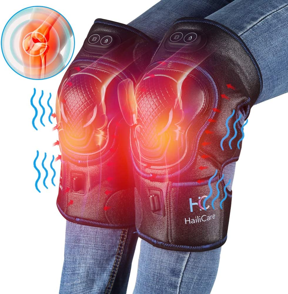 HailiCare Heated Knee Massager, Heat Vabration Knee Brace Wrap Electric Heating Pad W Rechargable 7.4V Lipo Battery Warm Therapy for Joint Pain, Cramps, Arthritis Meniscus Pain Relief 1 Pair