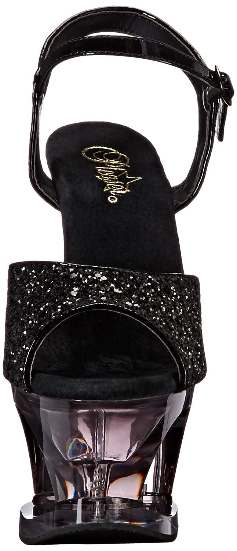 Pleaser Women's Moon710gt/Bg/Smk Platform Sandal B06XH31TDL 10 B(M) US|Black Glitter/Smoke