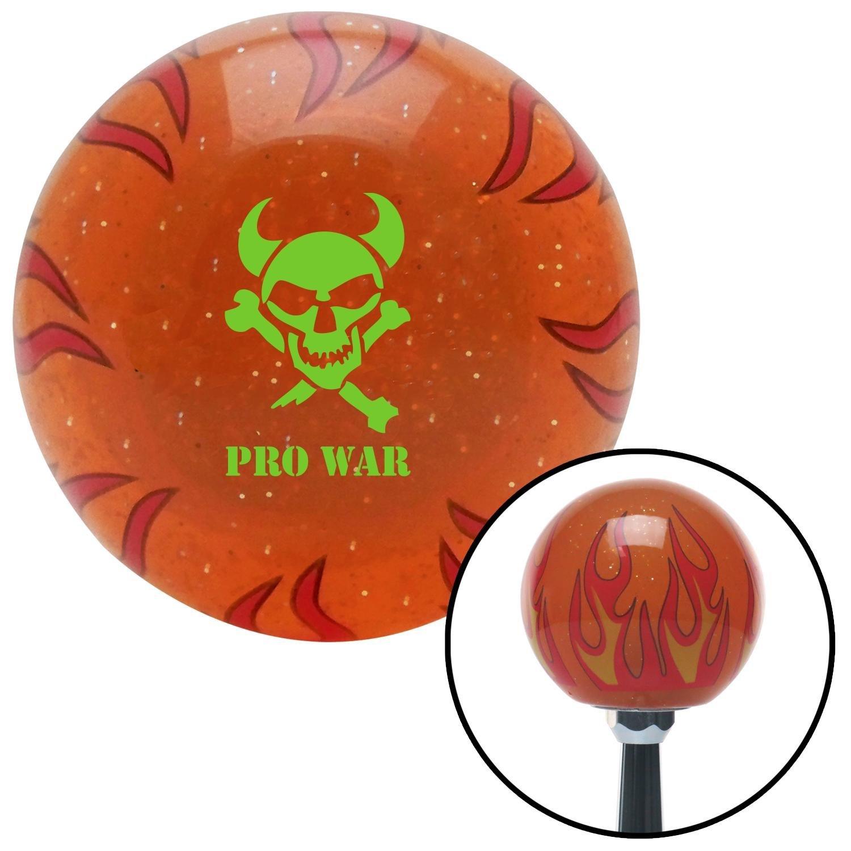 Green Skull 7 American Shifter 259954 Orange Flame Metal Flake Shift Knob with M16 x 1.5 Insert