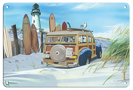 Pacifica Island Art GDay Mate-Woodie Retro en la Playa con ...