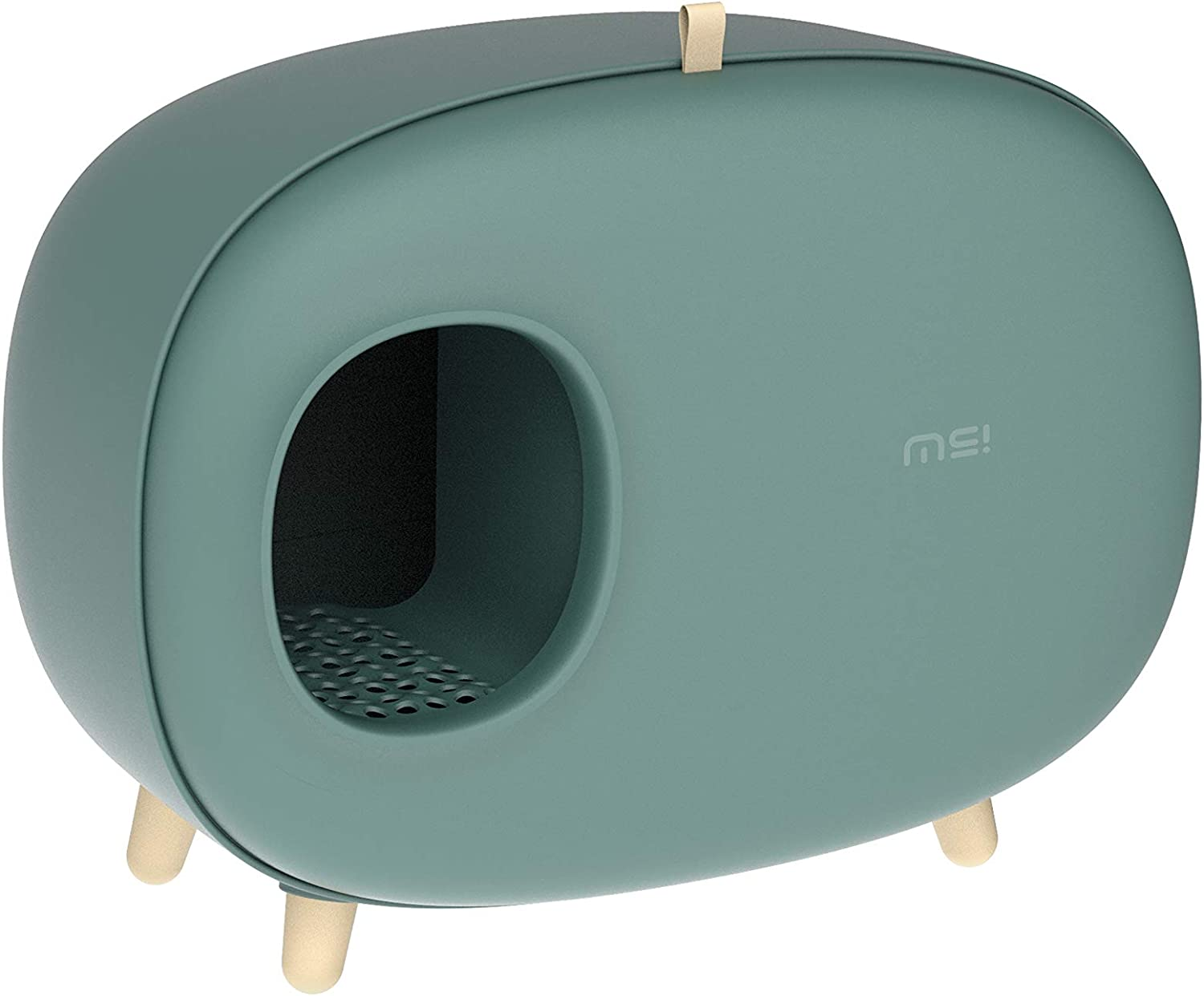 Color : Blue Enclosed Cat Litter Pan Lovely Large Cat Drawer Litter Two Door Box Sifting Kitty Litter Box Cat Litterbox with Cat Litter Scoop