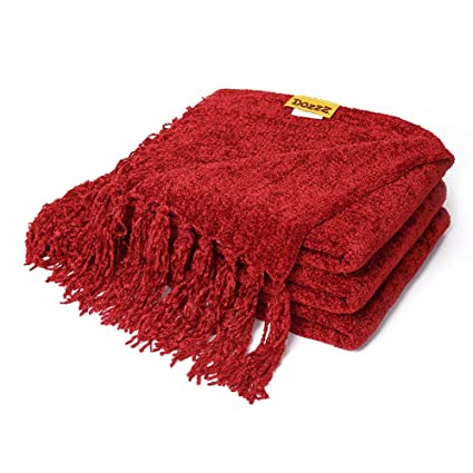 DOZZZ Fluffy Chenille Knitted Throw Blanket With Decorative Fringe and  Striped For Home Décor Bed Sofa Couch Chair Burgundy Red