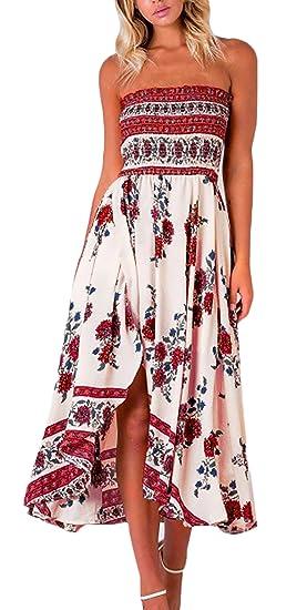 Vestido Playa Mujer Vintage Moda Casual Floreadas Vestido Boho Sin Mangas Bandeau Sin Tirantes Irregular Asimetricos