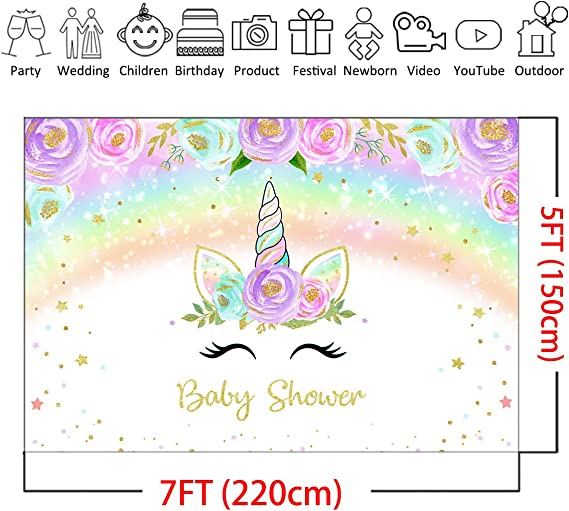 CdHBH 7x5ft Watercolor Eye Closed Unicorn Party Backdrop for Pictures Baby Shower Kids Birthday Party Decoration Stars Colorful Stripe Photography Background Photo Studio Props