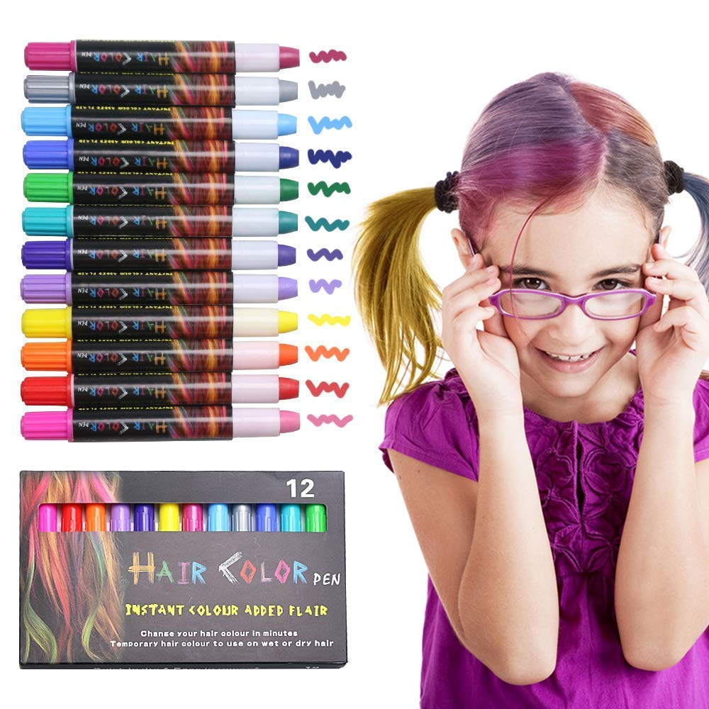 Allnice Hair Chalk Pen, 12 Colors Temporary Non-Toxic Washable Hair Dye Colors Safe for Kids and Teen - Scented - for Party, Concert, World Cup, Girls Gift, Kids Toy, Adults