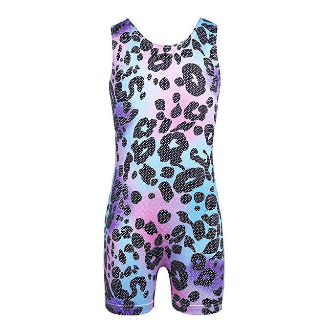 New Girls Sleeveless Ballet Dance Leotard Colorful Printed Gymnastics Jumpsuit