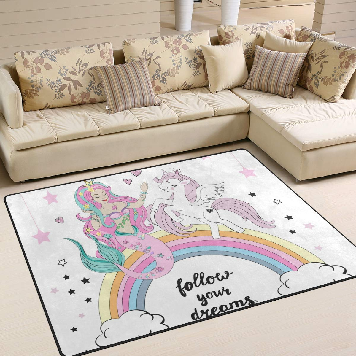 Orediy Soft Rugs Unicorn And Mermaid Lightweight Area Rugs Kids Playing Floor Mat Non Slip Yoga Nursery Rug for Living Room Bedroom