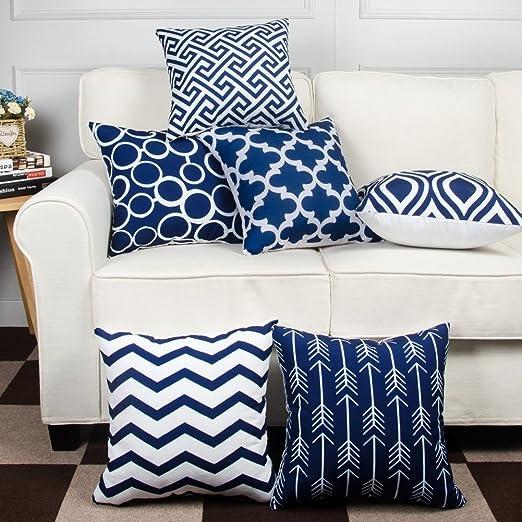 Modernas fundas de cojín (Geometric), Algodón, azul marino, 40 x 40 cm: Amazon.es: Hogar
