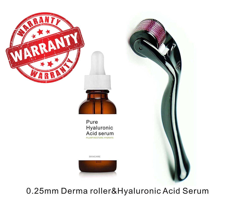 Sweet Dream Titanium Microneedle Derma Roller 540 Micro Needles Skin Care Needle 0.25mm+hyaluronic acid serum