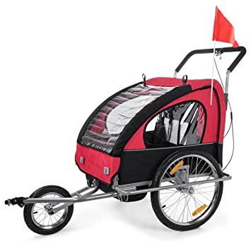 SAMAX - Cochecito infantil para remolque de bicicleta, color rojo / negro: Amazon.es: Deportes y aire libre