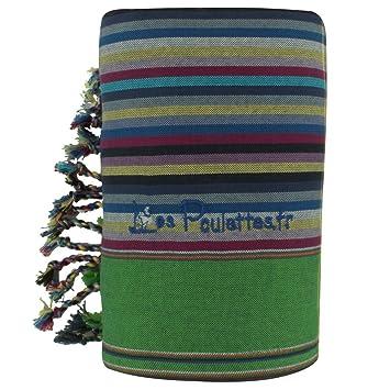LES POULETTES Kikoy Toalla de Playa de Algodón con Rayas - Color Azul Oscuro Verde - Azul Marino: Stephanie Ducauroix: Amazon.es: Hogar