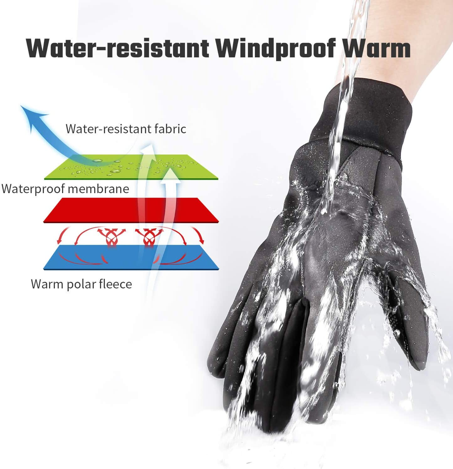 FanVince Winter Thermal Gloves Touch Screen Water Resistant Warm Glove Windproof for Running Cycling Driving Phone Texting Outdoor Hiking Best Gifts for Men and Women