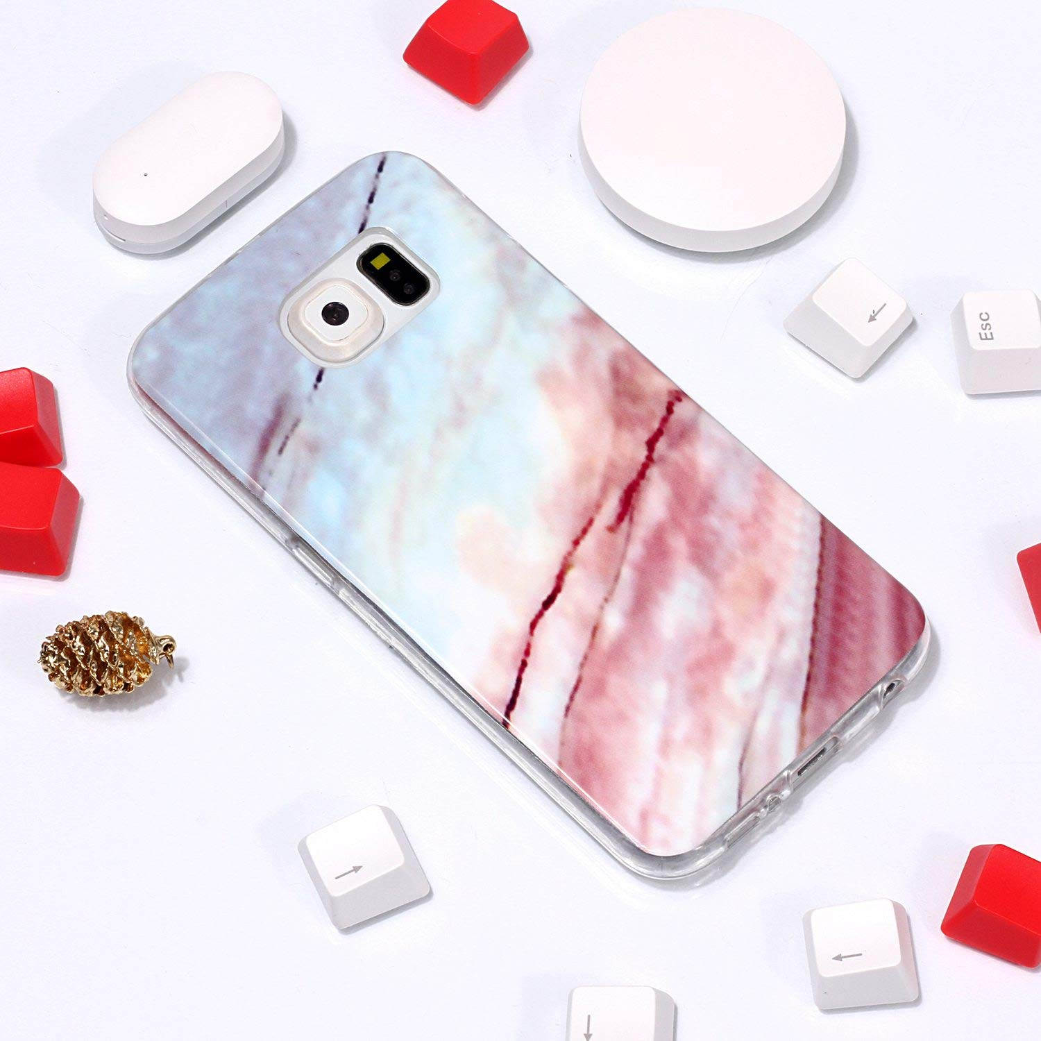 Car Electronics & Accessories GPS Chargers Elegant for Samsung Galaxy S6 Edge Marble Case and Screen Protector,Unique Pattern Design Skin Ultra Thin Slim Fit Soft Gel Silicone Case,QFFUN Shockproof Anti-Scratch Protective Back Cover