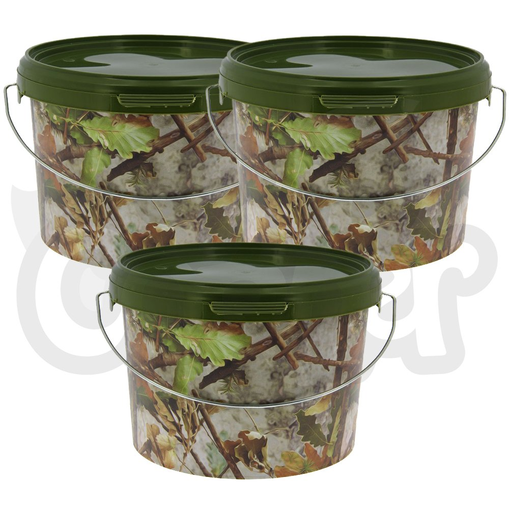 1 2 or 3 Airtight Round Camo 3L Litre NGT Fishing Tackle Bait Storage Buckets with Metal Handle DNA