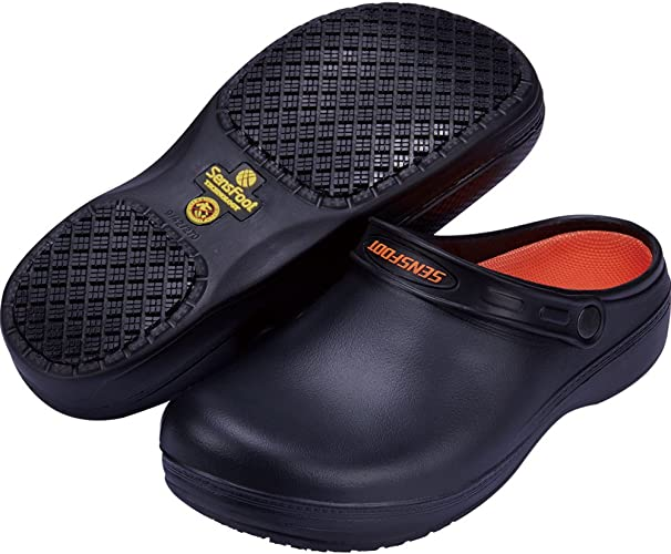 Amazon.com | SensFoot Slip Resistant Work Clogs Unisex Black Non ...