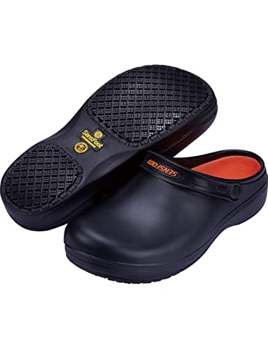 24777e6bc4a9 SensFoot Slip Resistant Chef Clogs Kitchen Non Slip Work Shoes(7 US Women)  Black