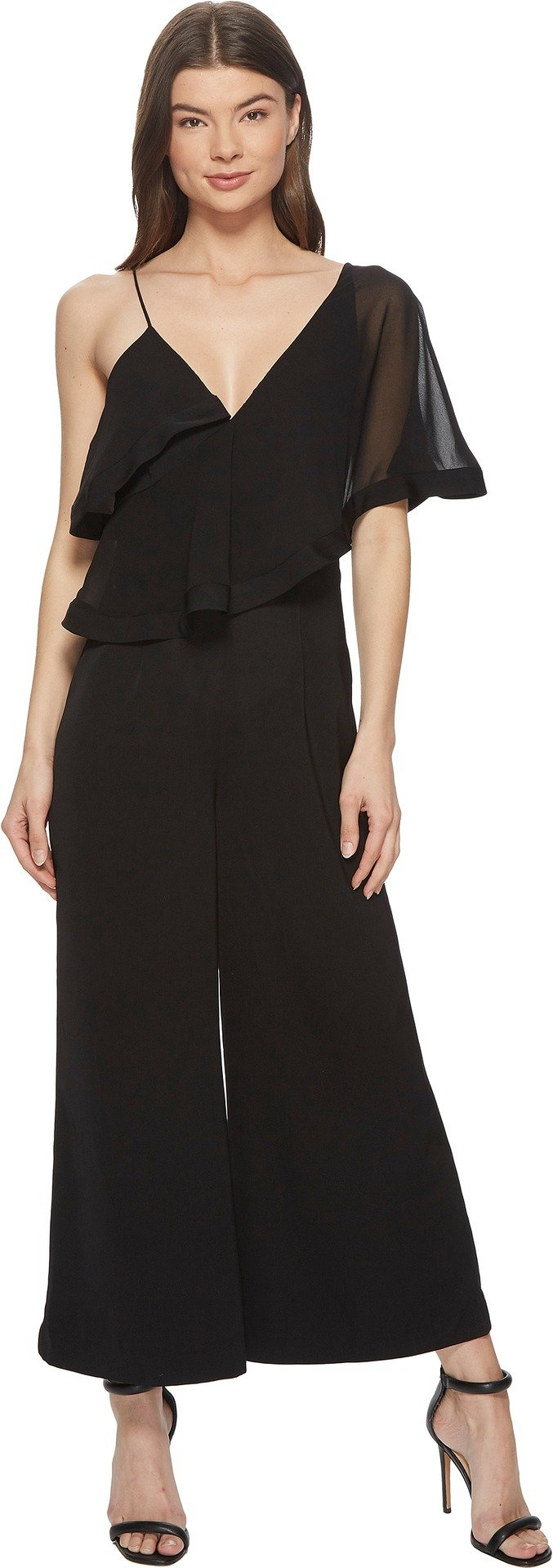 Keepsake The Label Women's No Love One Shoulder Flutter Sleeve Cropped Jumpsuit, Black, M