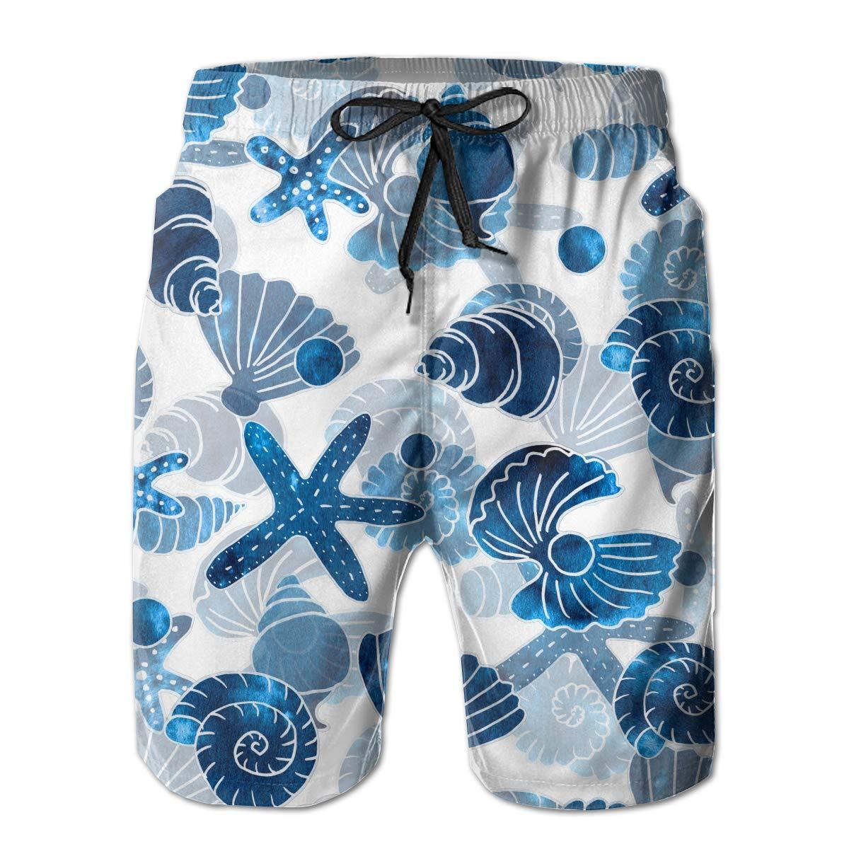 FRS Ltd Shells Sea Pattern Mens Quick Dry Swim Trunks Beach Board Short Drawstring Vacation Surfing Shorts